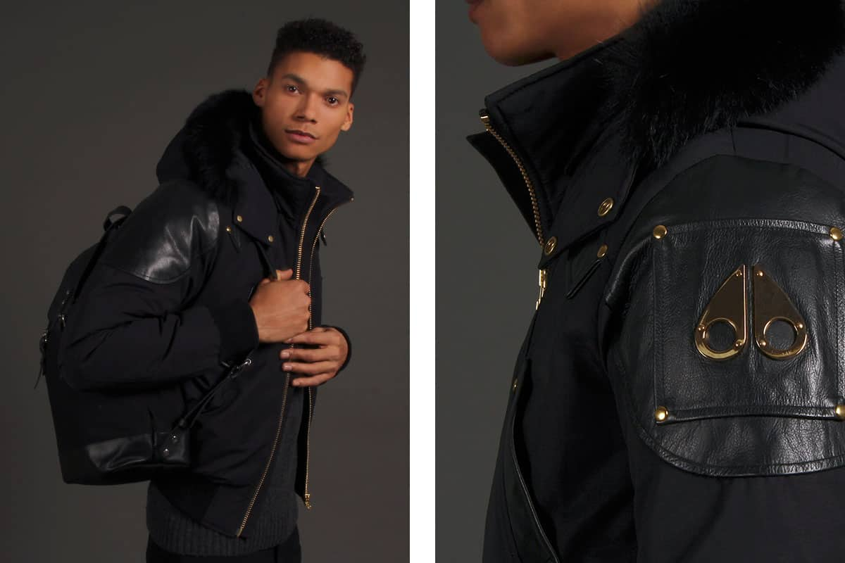Moose Knuckles Black Mens Leather Jacket Peninsula