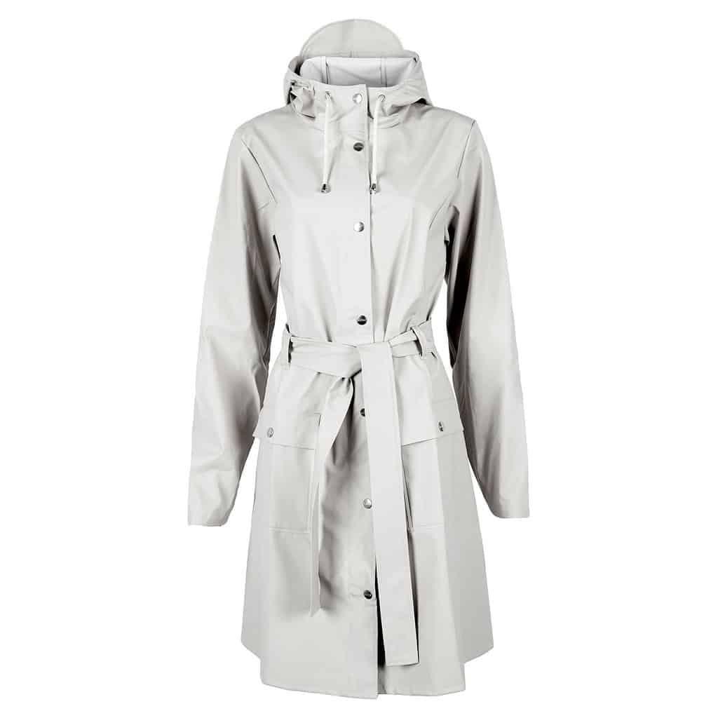 curve raincoat white