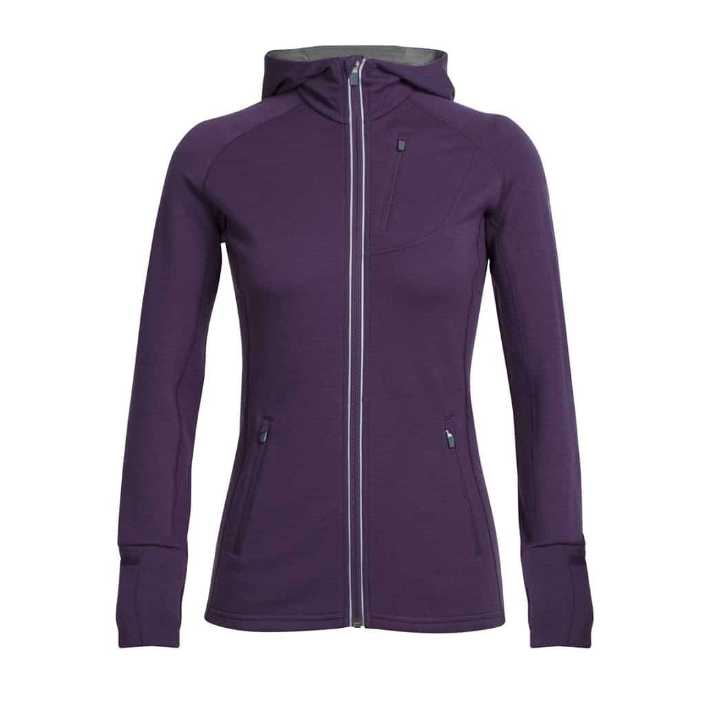 icebreaker womens quantum long sleeve zip hood