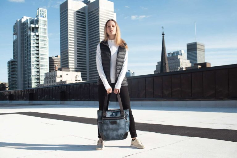 Women in the city wearing athleisure clothing