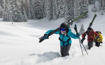 Black Diamond, shell, ski pack, ski touring, snow shell, touring, waterproof shell. Touring in the Red Mountains with Black Diamond Essentials.