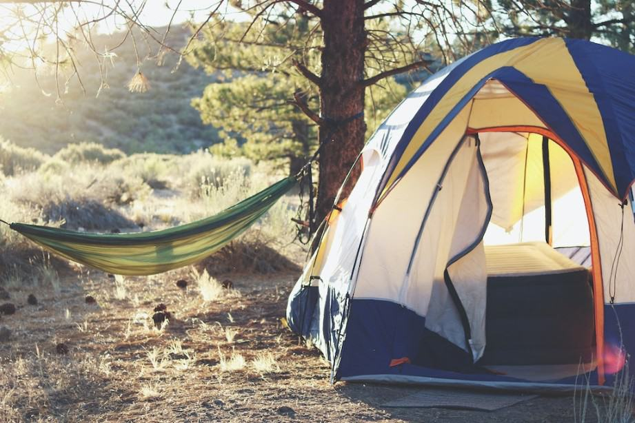 Tent and hammock on a campground