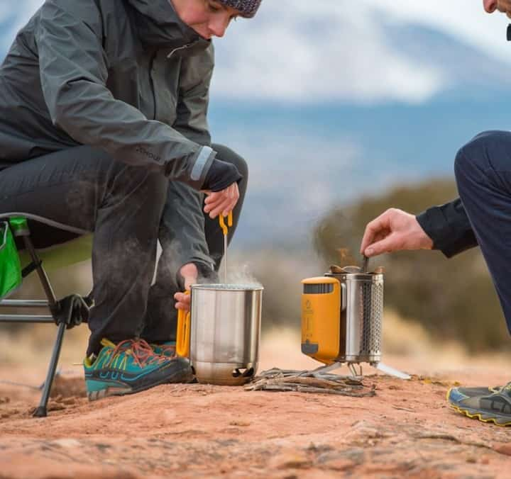 Example of camping coffee making with a french press