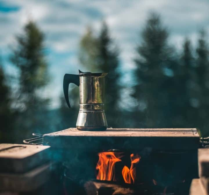 Example of a camping coffee making percolator